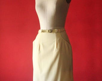 Vintage 60's Deadstock Pastel Yellow Pencil Skirt with Original Belt and Tag, by MIss Pat