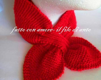 Red scarf in pure wool 100%