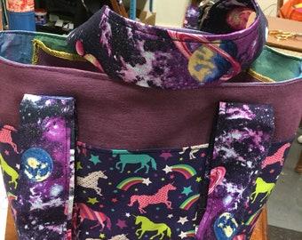 Galaxy rainbows and unicorns shoulder bag