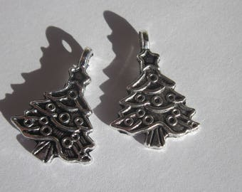 2 Charms 24 mm silver metal Christmas tree (6202)