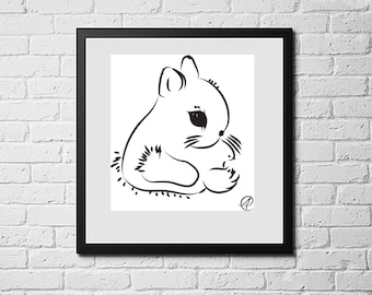 Rabbit Art, Animal Art Print, Animal Art Kids, Animal Artwork, Animal Art for Kid's Room, Animal Art Print Kids, Wall Art, Digital Downloads