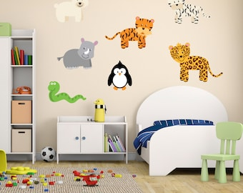 Wild Jungle Animal Wall Stickers, Safari Wall Decals, Animal Wall Art, Wall Transfer - Full Colour Wall Stickers - FP044
