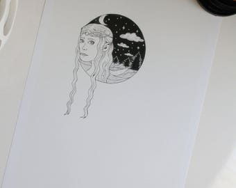 Galadriel Lord of the Rings original Print