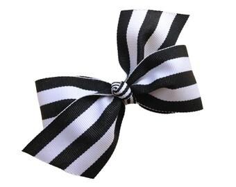 Black & white striped hair bow - girls hair bows, girls bows, 4 inch bows, boutique bows, black hair bows, hair clips, hair bows, bows