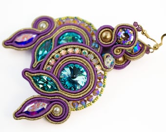 Juno's feather earrings-Luxury Italian Soutache-golden thread