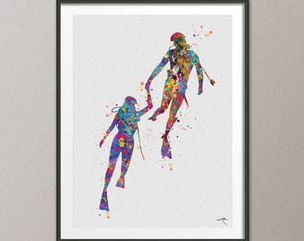 Scuba Couple Love Watercolor Print Divers Coastal Living Art Print Wall Art Diving Underwater Sport Wall Decor Home Decor Wall Hanging-834
