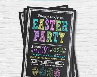 Easter Party Invitation - Chalkboard - Spring - Boy/Girl - Egg Hunt - Card -  Digital Printable File