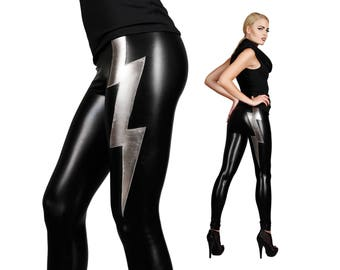 Lightning Bolt Leggings, Rocker Leggings, Burning Man Leggings, Glam Rock, Dancewear, Stage Wear, David Bowie, Spandex Leggings, LENA QUIST