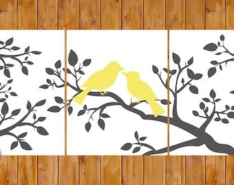 Yellow Grey Wall Art Love Birds On a Branch Home Decor Bedroom Bathroom DIY Printable 8x10 Digital JPG Files (204)