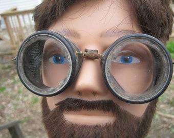 Vintage Goggles, Aviator Or Automotive Goggles, Bakelite Frames, 2 Inch Diameter Circle Lens, Rubber Strap, Biking Accessory