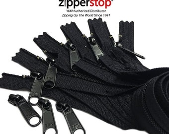 Long Pull YKK® Nylon Coil #4.5 Handbag Black Zippers with Long Pull Sliders-Closed Bottom Made in USA-5 zippers with YKK® #4.5 Sliders 3pcs
