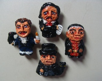 Price,Lorre,Karloff and Poe  Refrigerator Magnets set A(Full Body Cutie Style)