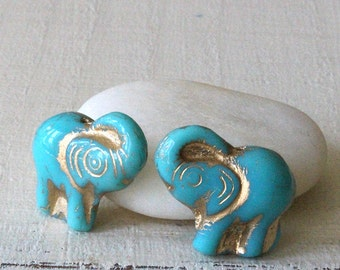 Czech Glass Elephant Beads - Jewelry Making Supplies - Turquoise With Gold Decor - Choose Amount.