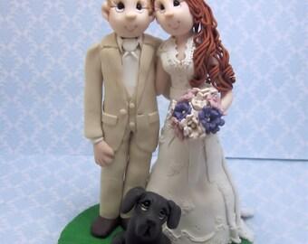 Custom Bride and Groom  with dog Wedding Cake Topper, Custom wedding cake topper, personalized cake topper, Mr and Mrs cake topper
