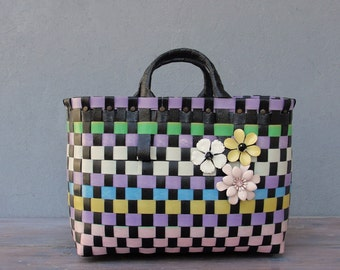 The Cutest Bag, Recycled Plastic Basket Bag, Multicolored and Black, Enamel flowers, Retro Purse