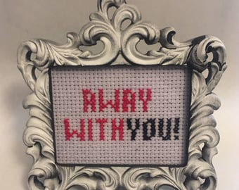 Away With You Mini Cross Stitch in Frame