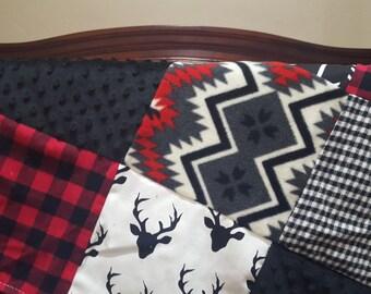 Deer Baby Blanket - Black Buck, Aztec, Black Arrow, Red Check, Black Check, and Black Minky Patchwork Baby Blanket