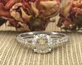 Moissanite Forever One Cushion Cut Engagement Antique style Ring. 14k White Gold. Moissanite ring Unique Ring.Vintage.