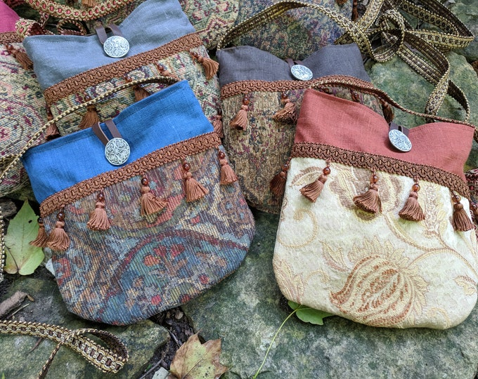 Gypsy Renaissance Purse, Medieval Fair Tapestry Bag, Cross Body - Choose Your Color