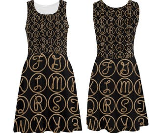 Western Lasso Rope Alphabet Skater Dress - printed photographic rope alphabet tank dress - USA XS-3XL