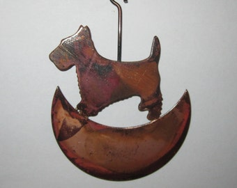 Copper Moon Dog Ornament