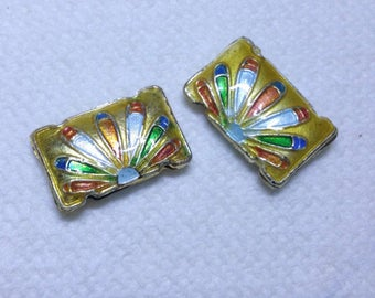 2pc 19x12.5 Rectangle handmade double holes Cloisonne Beads-OFF56