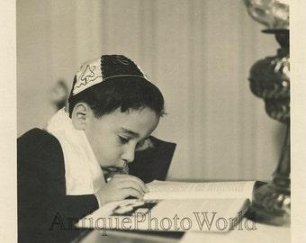 Jewish boy reading antique photo