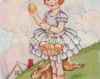 Easter Greeting Card from 1938 Girl Easter Eggs Rabbit Vintage Digital Download