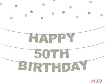 50th Birthday banner | Happy birthday bunting | 50th birthday decor | Glitter banner | Party banner decoration | Party decor | Age banner
