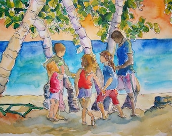 Art Watercolor Painting Children Playing Tropical Jamaican Beach Sunset Sketch Print