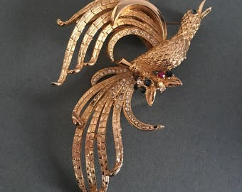 Bird of Paradise  Brooch Pin Gold tone with Paste Rhinestones