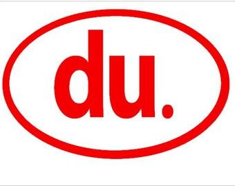 """Duathlon """"Du"""" Oval Sticker"""