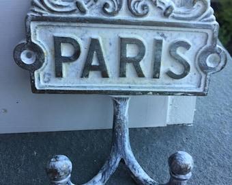 Paris Hook, White Hook, Wall Hook, Wall Hanger, Wall Decor, Distressed White Hook, Home and Garden Decor