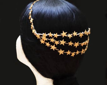 Gold star bridal crown. Wedding headpiece. Gold wedding crown. Bride hairstyle. Bride crown. Bridal accessory. Vintage bride. Bridal wreath