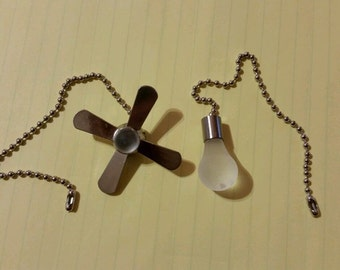 2 piece Ceiling Fan and Light Bulb tassel Nickel Beaded Pull Chain Set NEW FREE SHIPPING