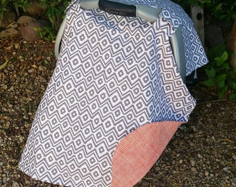 Baby Car Seat Canopy - Baby Car Seat Cover - Aztec Car Seat Canopy - Grey Orange Car Seat Cover - Baby Shower Gift - Ready to Ship