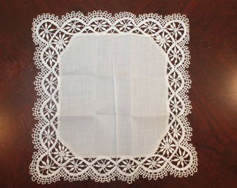 Dentelles Belgian Hand Made Lace Handkerchief – Perfect for the Bride - Original Box