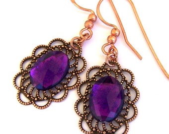 Purple and copper earrings, antiqued copper filigree, vintage style earrings, gift for her under 20 dollars