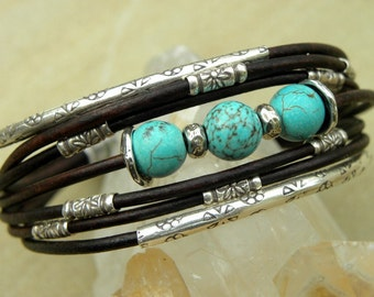 Turquoise  Bracelet Chocolate Brown Leather and Sterling Silver Handcrafted Multiple Strands Bangle
