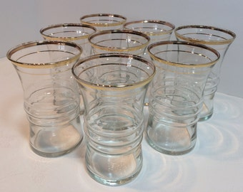 RARE Elegant Anchor Hocking Clear Glass Tumblers with Metallic Gold Rim Border Retro Barware Drinking Glasses Set of 8 Vintage Mid-century