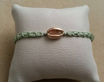 adjustable Mint green macrame mini pearl bracelet pink champagne gold cowrie and coordinated Miyuki beads