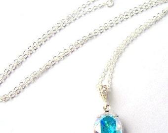 Aurora Borealis Rhinestone Necklace / AB rhinestone / rainbow / crystal necklace / wedding jewelry / gift for her / bridesmaid necklace