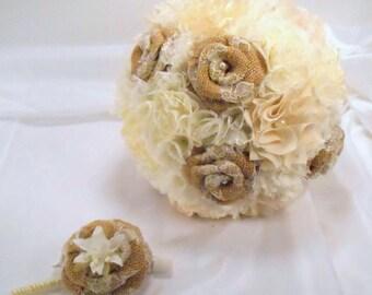 Burlap Bouquet, Bridal Bouquet, Fabric Bouquet, Burlap Bridesmaid Bouquet, Rustic Bouquet, Vintage Bouquet, Burlap and Lace, Wedding Bouquet