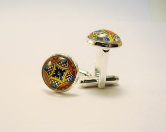 MEXICAN TALAVERA TILE Silver Cuff Links --Detail from a hand-painted Mexican tile in sunshine shades, friendship token