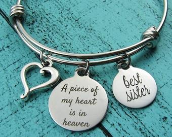 sister memorial gift, loss of sister bracelet, sympathy gift memorial bracelet, in loving memory of sister, remembrance gift best sister