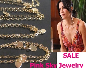 Gold Cougar Town Necklace, Courtney Cox, Jules Cobb long gold disc necklace