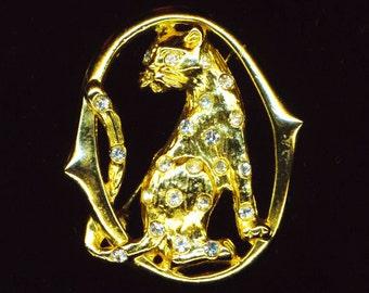 Vintage Golden Cat Pin/ Pendant . Rhinestones . Panther Brooch . Wild Cat . Animal . Statement Brooch - Wild Beauty by enchantedbeas on Etsy
