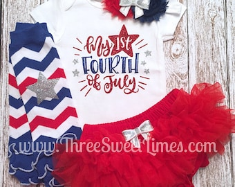 My First 4th of July Outfit Baby Girl | Tutu Bloomers | Opt Headband & Ruffle Bloomer Set | First Fourth 1st | Independence Day