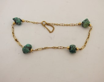Arts & Crafts Gold Filled And Raw Turquoise Matrix Nuggets Bracelet Circa 1900