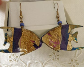 Artisan Enamel Gold Fish Earrings